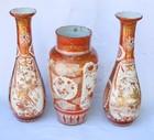 A set of three Japanese Kutani vases