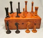 C19th French Carved & Turned Rare Palisander & Boxwood Chess Set