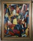 A superb modern cubist movement oil on canvas