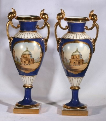 A beautiful pair early 20th century Russian urns