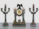 19th century French Napoleon III Green marble and bronze three piece clock set