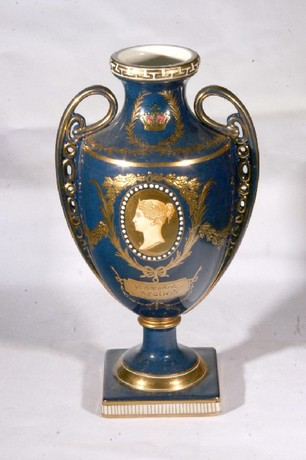A Third quarter 19th century Russian royal blue amphora