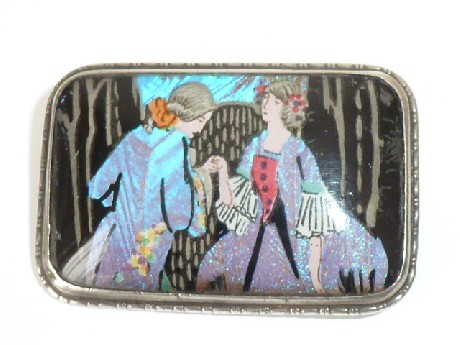 ART DECO STERLING SILVER BUTTERFLY WING BROOCH PIN CRINOLINE DRESSED LADY