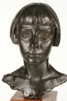 SAUL BAIZERMAN (1889-1957) BRONZE, HEAD OF A YOUNG GIRL