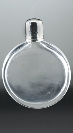 CLEAR CRYSTAL DISK SCENT PERFUME BOTTLE, SILVER TOP