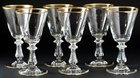 SET OF SIX VAL ST. LAMBERT CROWN GOLD SMALL WINE SHERRY GLASSES