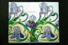 C.1905 SPECTACULAR HEIMIXEN BELGIUM ART NOUVEAU 20 TILE IRIS PANEL, 20 FEET AVAI