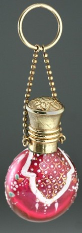 ENAMELLED CRANBERRY GLASS SCENT PERFUME BOTTLE, BRASS TOP
