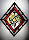 VICTORIAN & EARLIER STAINED GLASS SUNCATCHER IN NEWLY LEADED MOUNT