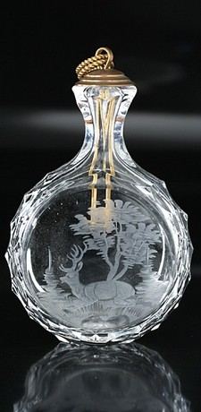 BOHEMIAN GLASS SNUFF BOTTLE ENGRAVED W/ RECLINING STAG, AS SCENT PERFUME BOTTLE