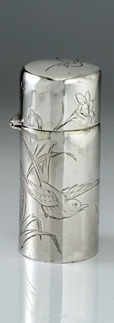 SILVER SCENT PERFUME BOTTLE, ENGRAVED BIRDS FLOWERS & INSECTS, HALL & GOODE