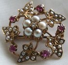 Antique VICTORIAN Gold Pearl Diamond Ruby Floral Brooch Pendant