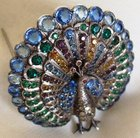 Antique ART DECO Sterling Silver Marcasite Paste Peacock Brooch