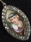 GEORGIAN Antique Silver Lady Portrait Miniature Painting Pendant