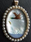 Antique Victorian Essex Crystal Reverse Carved Gold Pearl Pendant