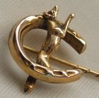 ART DECO 9ct Gold Equestrian Fox & Horseshoe Hunting Stick Pin