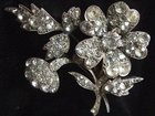 Antique EDWARDIAN Sterling Silver Flower Paste Brooch Pin