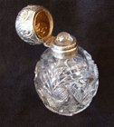 cut glass and silver antique perfume bottle
