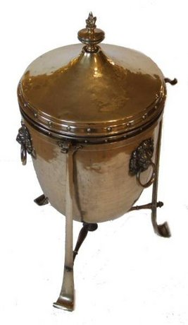 Edwardian brass coal bin/wine cooler