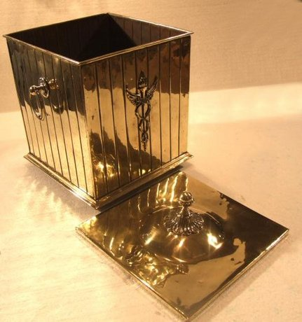 Beautiful Edwardian brass coal bin