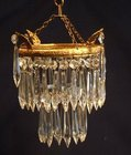 Small antique 2 tier icicle drop chandelier