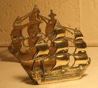 Brass book ends in the form of sailing ships
