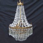 Large Edwardian Sac a Perles 4 Tier Chandelier.