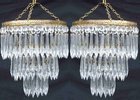 Pair of Edwardian Icicle drop chandeliers