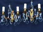 Circa 1900 French Double Armed Brass and Glass Wall Lights.