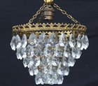 Lovely 5 tier Mid 20th Century Crystal Chandelier.