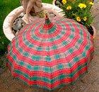 Red & Green Plaid Pagoda Umbrella