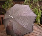 Vintage Black and White Checks White Handle Umbrella