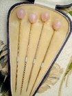 Cased Set of Four Rose Pink Quartz Hatpins