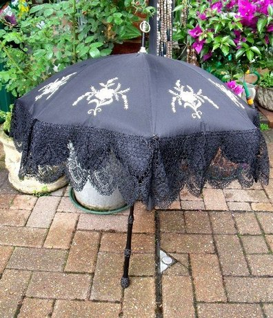 Ebony Embroidered Black Lace Antique Parasol