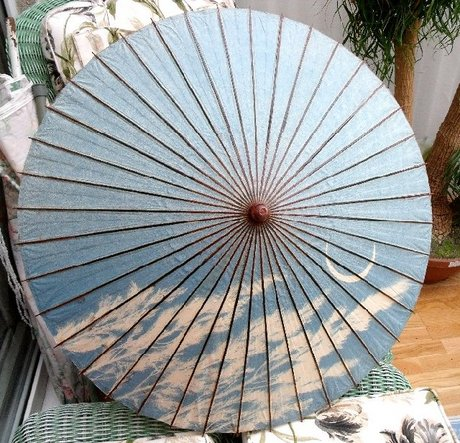 Antique Japanese Parasol with Bamboo Handle