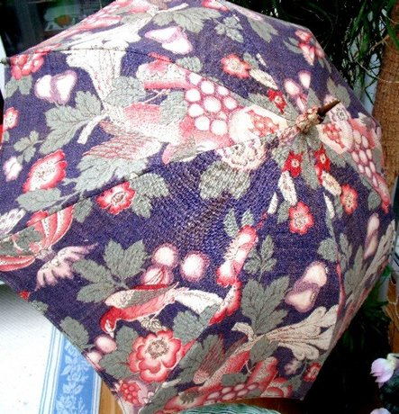 Edwardian Parasol Umbrella with Cherries and Bow