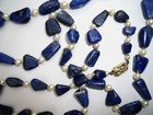 Lapis Lazuli and Pearls 14ct Gold Clasp Necklace