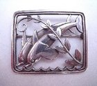 Silver Dolphins Georg Jensen Brooch c1940s