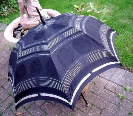 Victorian Black and Silver Handle Parasol Umbrella