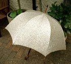 Golden Fabric Vintage 1950s Umbrella with Wooden Handle