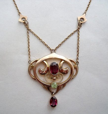 Art Nouveau Necklace with Amethysts & Peridot by Murrle Bennett