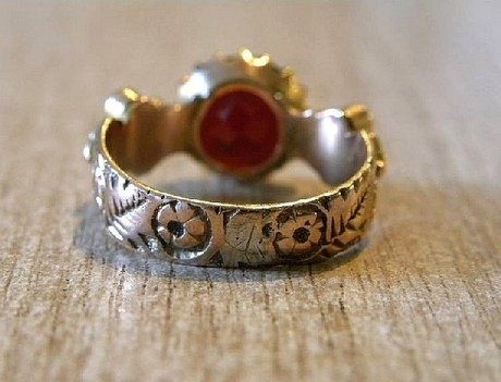 Edwardian Garnet Turquoise & Seed Pearl Gold Ring 1909