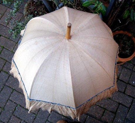 Edwardian Golden Beige Frilled Parasol