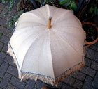 Edwardian Golden Beige Frilled Parasol