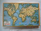 PICTORIAL MAP OF THE WORLD : VICTORY VINGAGE WOODEN JIGSAW PUZZLE