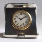 Silver cased folding travel clock