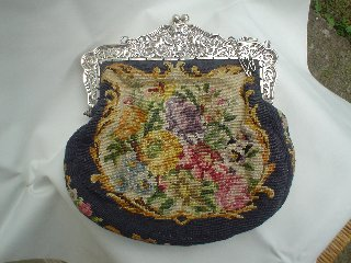 Silver Mounted Needlepoint Bag