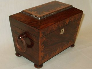 Rosewood Parquetry Tea Caddy
