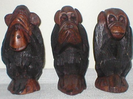 Hand Carved African Wood Three Wise Monkeys 32542 Price