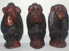 Hand Carved African Wood Three Wise Monkeys